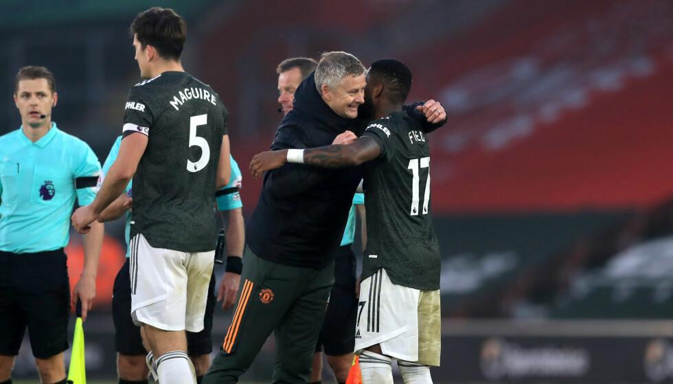 GOD STEMNING: Ole Gunnar Solskjær og Manchester United-spillerne feiret snuoperasjonen. Foto: NTB Scanpix
