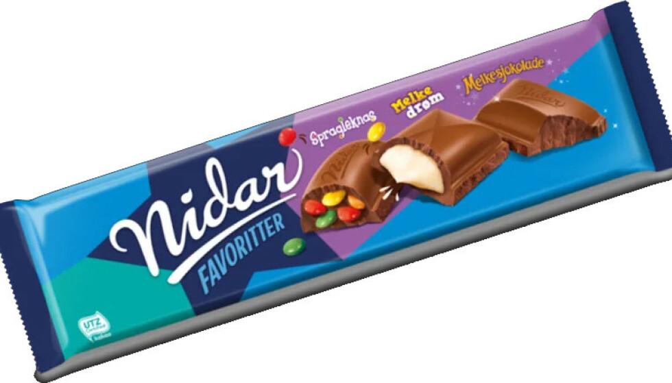 TILBAKEKALLER: Nidar trekker tilbake et parti Nidar Favoritter merket merket «Best før 28.10.2021». Foto: Orkla Confectionery & Snacks