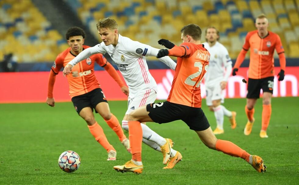I AKSJON: Martin Ødegaard spilte 77 minutter for Real Madrid. Foto: NTB