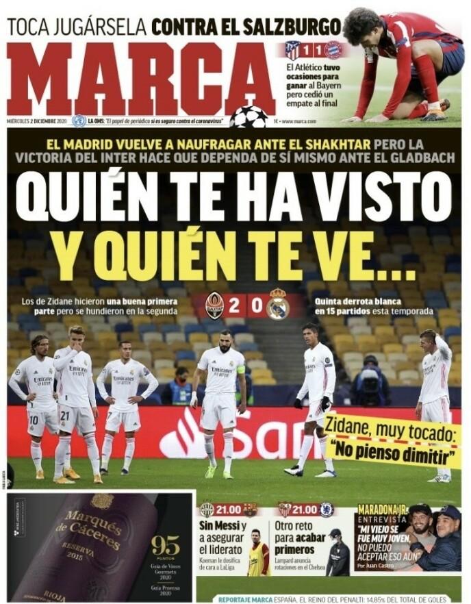 I OVERSKRIFTENE: Real Madrid-tapet brettes ut på førstesida av storavisa Marca onsdag. Dette var lagets femte tap denne sesongen. - Jeg trekker meg ikke, sier Zinédine Zidane.
