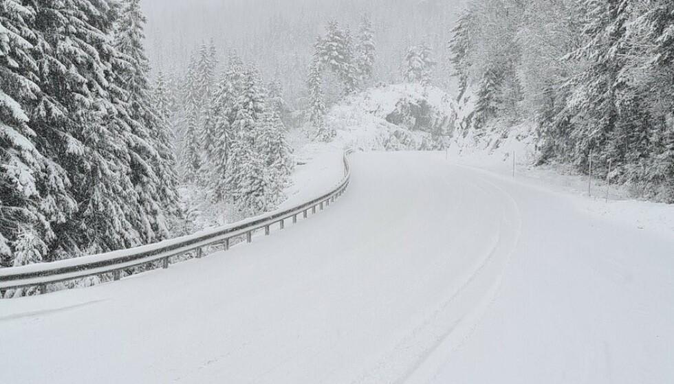 SNØ: Det ligger allerede snø mange steder i fjellet i Sør-Norge. Her fra E134 ved Vinje. Foto: Statens Vegvesen