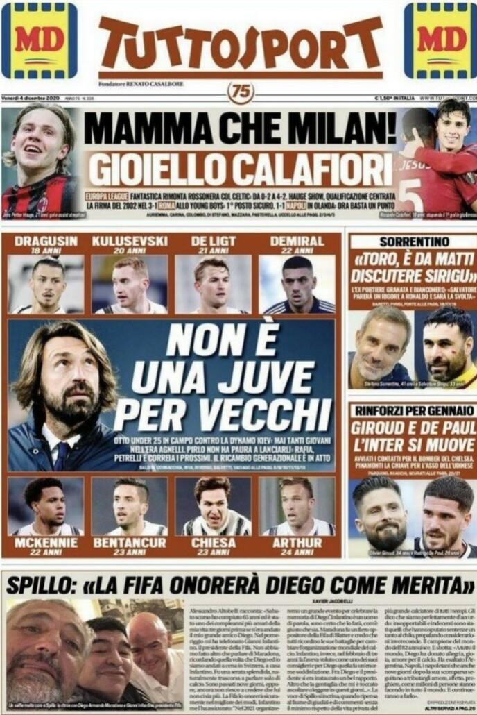 PÅ FØRSTESIDA: - Mamma Mia, for et Milan, skriver Tuttosport i dag. Tittelen er ledsaget av en smilende Jens Petter Hauge.
