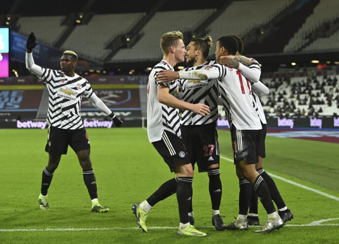 JUBELKVELD: Manchester United tok tre viktige poeng og hoppet opp på fjerdeplass i Premier League. Foto: NTB