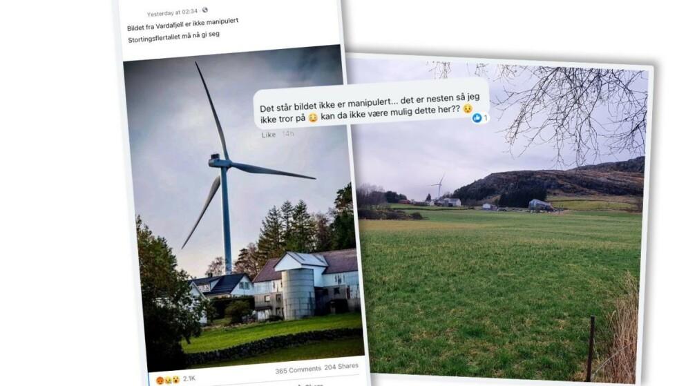 VAKT DEBATT: Bildet ble delt på Motvind Norge sin gruppe på Facebook. (Foto: Facebook-bruker og privat)