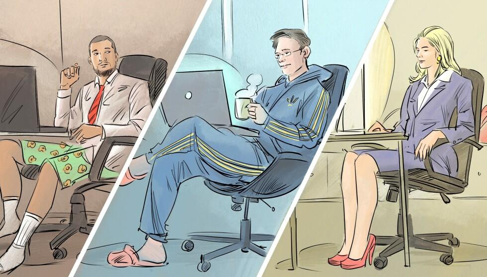 HJEMMEKONTOR: Hvordan du jobber hjemmefra sier også mye om deg som person. Ekspertene gir deg rådene for hva du bør tenke på når du kler deg før et Teams-møte. Tegning: Fedor Sapegin