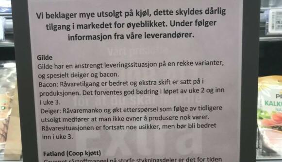 MANGELVARE I FJOR: Denne plakaten sto i en Coop Extra butikk i Oslo i 2019. Foto: Privat