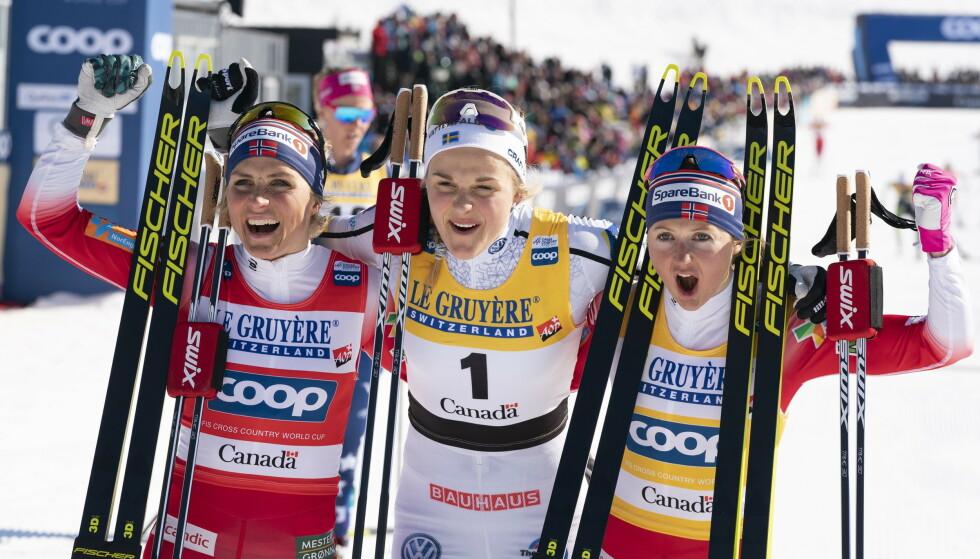ENORMT TOPPNIVÅ: Stina Nilsson vant minitouren i Canada i 2019 og ble den første til å slå Therese Johaug i et distanserenn etter comebacket. Foto: NTB Scanpix