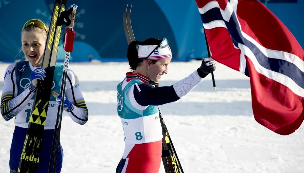 FIKK IDEEN: Stina Nilsson vant fire OL-medaljer i Pyeonchang og var ikke langt bak OL-dronninga Marit Bjørgens totale medaljefangst. Det var her Nilsson så bort på skiskytterarenaen og bestemt seg for valget som sjokkerte hele idretten. Foto: Bjørn Langsem / Dagbladet