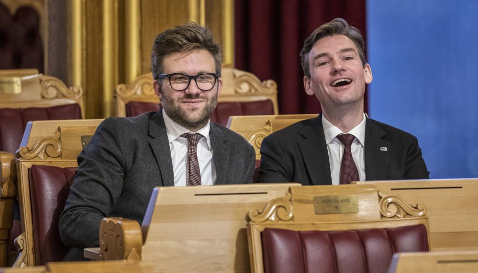 VURDERER Å UTFORDRE: Stefan Heggelund (til venstre) åpner for en kampvotering om fjerdeplassen på lista til Oslo Høyre. Foto: Ole Berg-Rusten / NTB