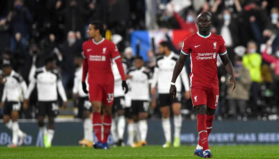 SKUFFET: Sadio Mané og Joel Matip etter at Fulham tok ledelsen. Foto: NTB