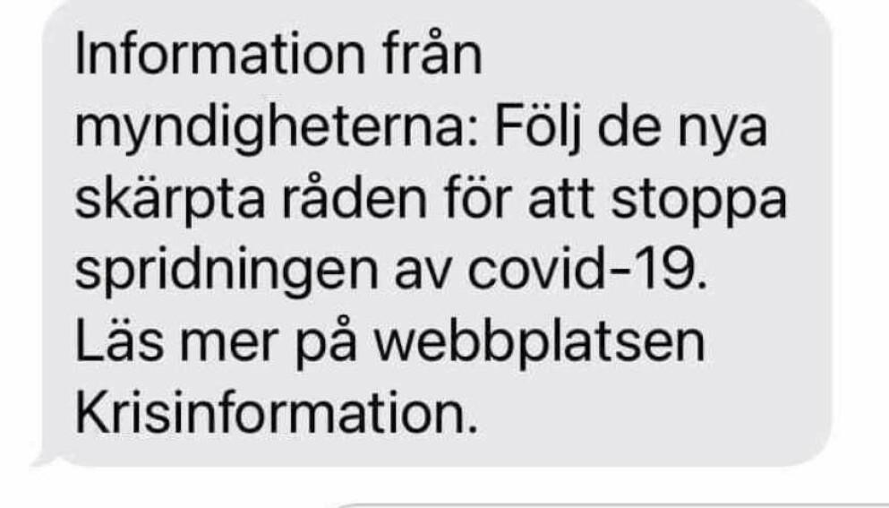 KONTROVERS: Millioner av svensker mottok denne meldingen mandag. Nå skaper den storm. Foto: Skjermdump