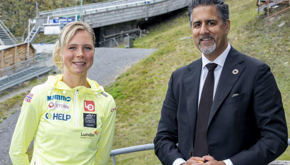TOPPMØTE: Kulturminister Abid Raja er blant dem som har støttet Maren Lundby i kampen for likestilling. Foto: Geir Olsen / NTB