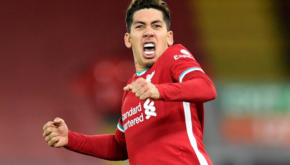 MATCHVINNEREN: Roberto Firmino feirer Liverpools seiersmål i det 90. minutt. Det kom etter en enorm heading på corner. Foto: Peter Powell / Reuters / NTB