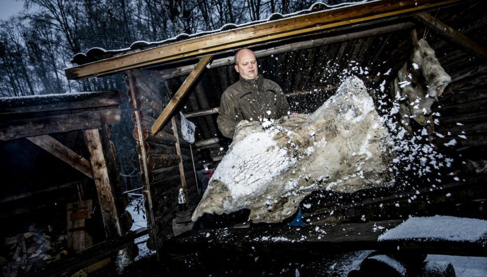 SNØFELL: Trygve Slagsvold Vedum og familien har gjort i stand flere gapahuker ved dammen like ved hjemmet på Ilseng. Her fjerner han snø fra en reinsdyrfell. Foto: Christian Roth Christensen/Dagbladet.