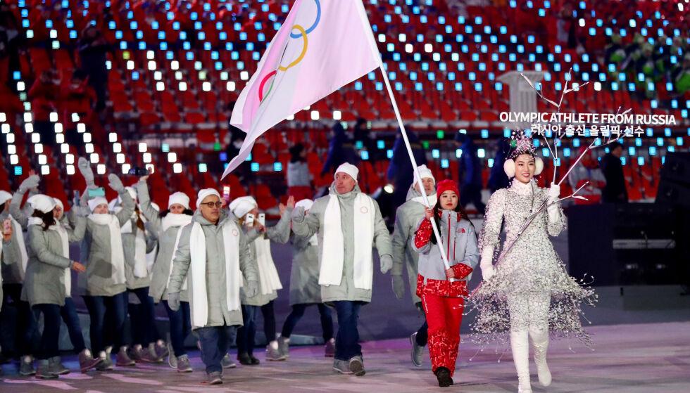 UNDER NØYTTRALT FLAGG: Russiske utøvere under OL i 2018. Foto: NTB