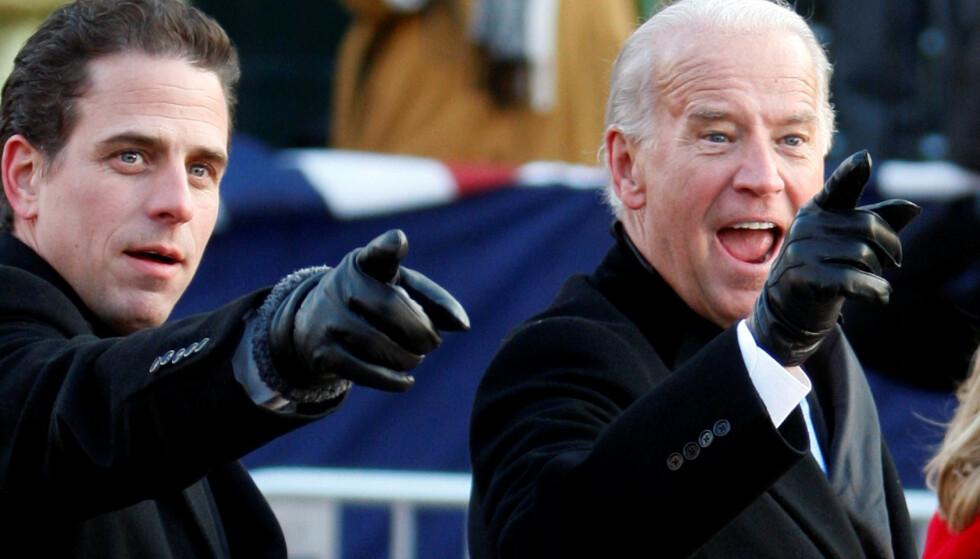 NÆRT FORHOLD: USAs påtroppende president, Joe Biden, forsvarer sønnen Hunter (t.v.) i et nytt intervju. Foto: REUTERS/Carlos Barria/File Photo