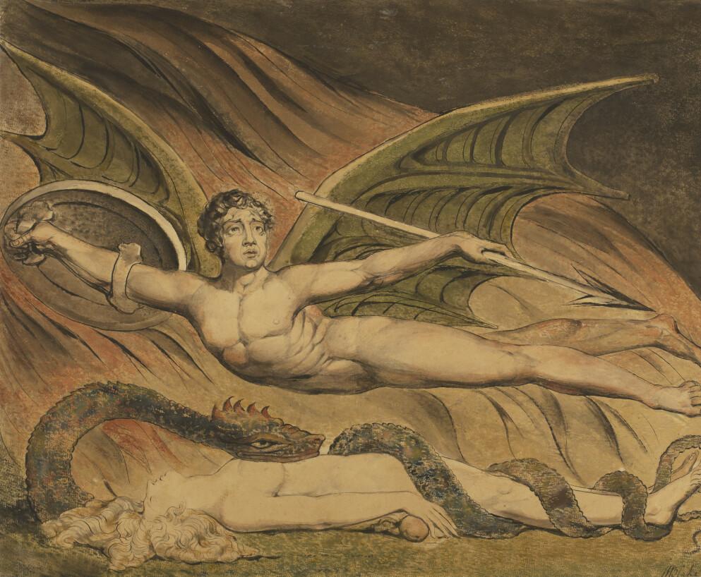 BIBELEN I KUNSTEN: «Satan Exulting over Eve» av britiske William Blake, malt i 1795.