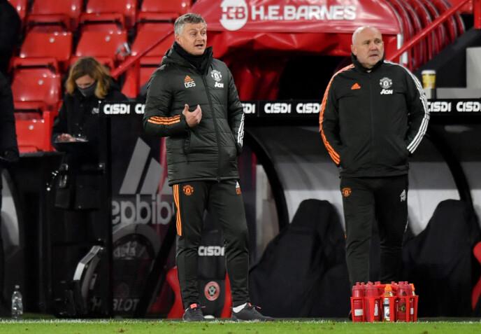 VIND I SEILENE: Ole Gunnar Solskjær og Manchester United er inne i en god periode i Premier League. Her fra Bramall Lane torsdag kveld. Foto: NTB