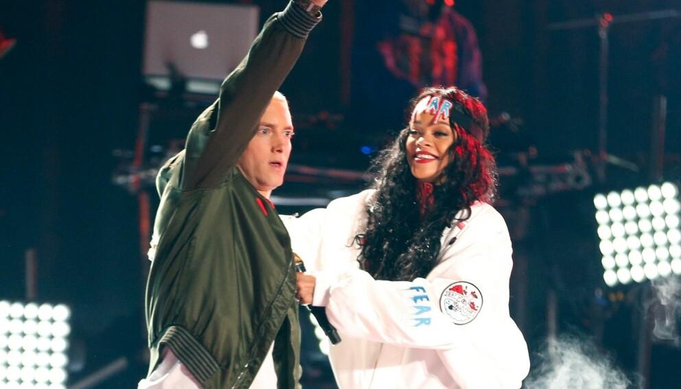 2014: Eminem og Rihanna på scenen under MTV Movie Awards. Foto: Christopher Polk/Getty Images for MTV/AFP