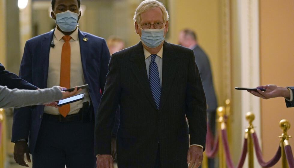 Paquete de crisis: Mitch McConnell dice que el Congreso ha acordado un nuevo paquete integral de crisis de la corona.  Foto: Susan Walsh / AP / NTB