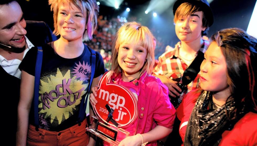 THE BLACKSHEEPS: Her etter seieren i Melodi Grand Prix junior i 2008. Foto: Thomas Sivertsen / ANB