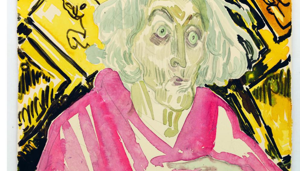 ALDERDOM: Flere av bildene i den nye boka til Vanessa Baird tematiserer alderdom. Illustrasjon fra boka