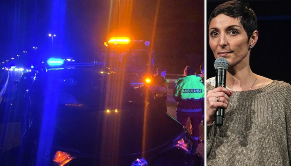 KRASJET: Bilen til Lisa Tønne fikk store skader etter et møte med et badekar på E6. Foto: Privat og Lars Eivind Bones