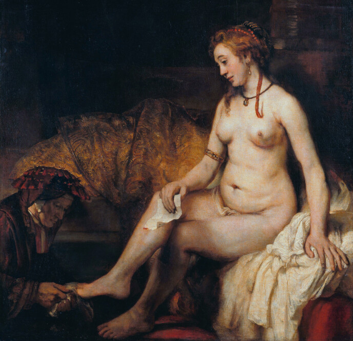 NAKEN: Rembrandts maleri av Batseba fra 1654. Bildet er gjort tilgjengelig via Louvre-museet og Wikimedia Commons.