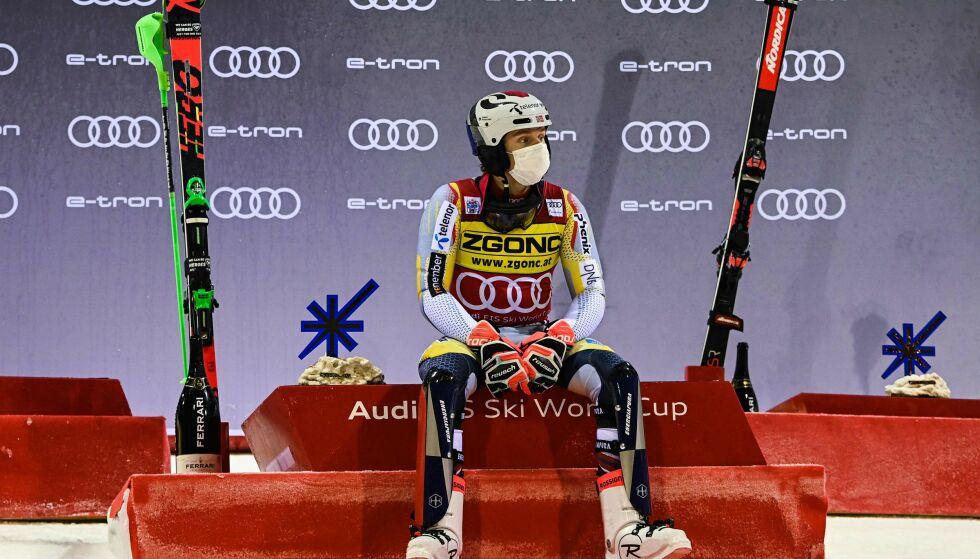 FRA 12. TIL FØRSTE: Henrik Kristoffersen vant i Italia. Foto: ANDREAS SOLARO / AFP / NTB Scanpix