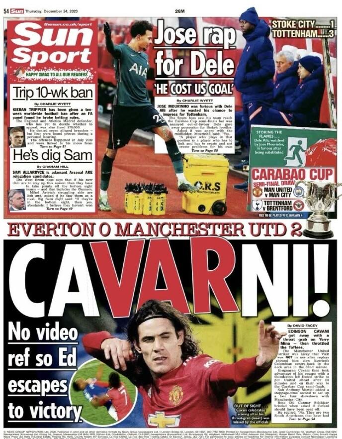 ORDSPILL: The Sun mener Edinson Cavani slapp unna rødt kort, fordi kampen ikke hadde VAR.