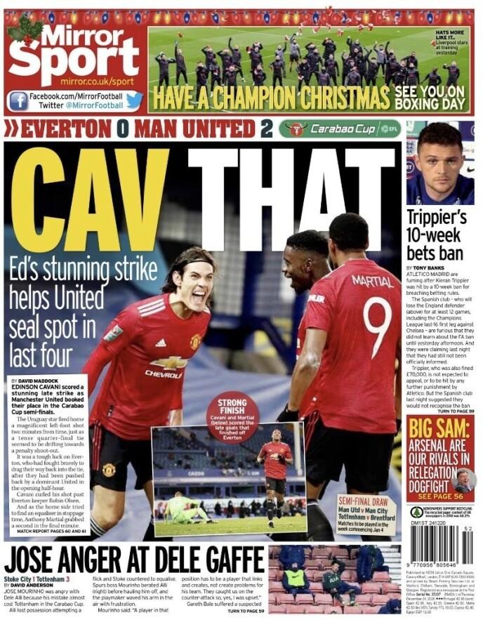 SEMIFINALE-JUBEL: The Daily Mirror mener Edinson Cavani gir Ole Gunnar Solskjær en boost.
