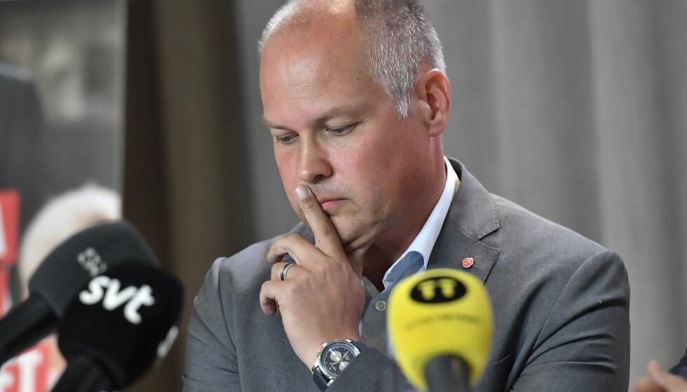 REFSES: Justisminister Morgan Johansson i Sverige. Foto: Jonas Ekströmer / TT / NTB