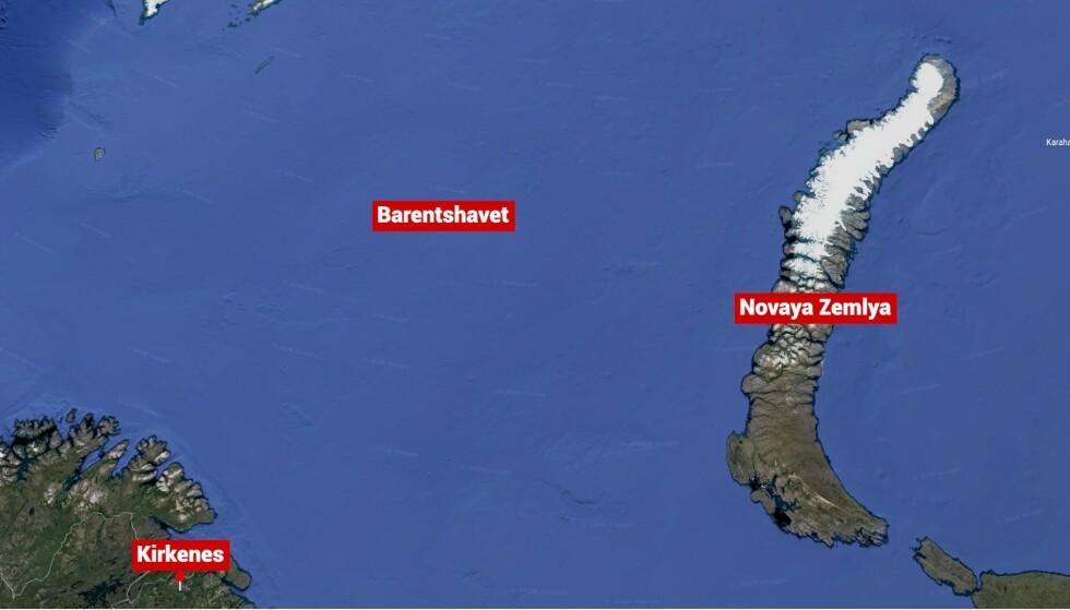 SANK: En fiskebåt sank i Barentshavet i nærheten av Novaya Zemlya mandag. 17 personer er antatt omkommet. Foto: Google Maps