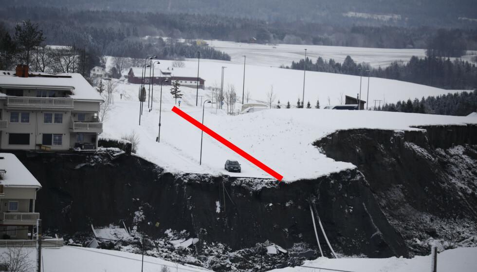 EKSPERT-UTTALELSE: Veien midt på bildet ville danne en naturlig grense for et eventuelt skred, ifølge ekspertrapporten fra 2015. Foto: Frank Karlsen