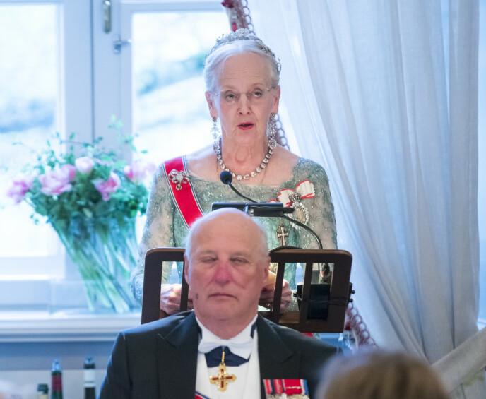 OPTIMISTISK: Dronning Margrethe sin nyttårstale var preget av optimisme. Her fotografert i anledning det norske kongeparets 80-årsfeiring i 2017. Foto: Heiko Junge / NTB