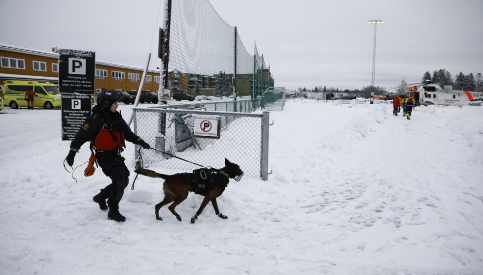UTE OG LEITER: Denne hunden er én av to hunder som nå er i rasområdet for å lukte seg fram til finne overlevende. Foto: Frank Karlsen / Dagbladet