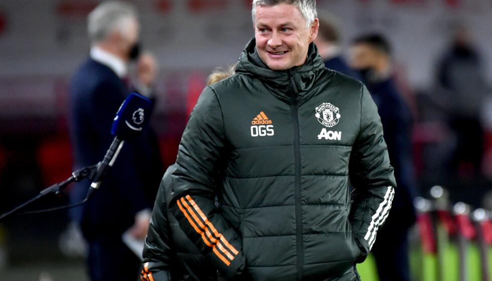 LURT SMIL: Det fungerer bra for Ole Gunnar Solskjær og Manchester United om dagen. Foto: NTB