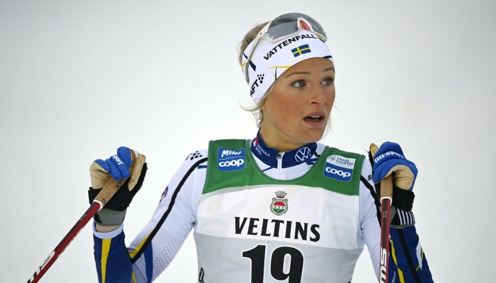 KRITIKK: Frida Karlsson er uenig i kritikken som ble rettet mot henne etter søndagens jaktstart i Tour de Ski. Foto: NTB