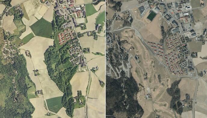 STOR UTBYGGING: Bildet til venstre viser området i Ask i 2004. 16 år etterpå, i 2020, skjedde det store inngrep der det nå har rast. Flere av husene nederst i boligfeltet Nystulia gikk med i skredet. Foto: Norgeskart
