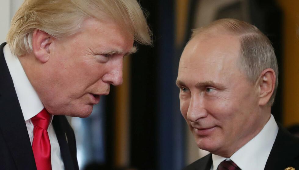TO FARLIGE MENN: Donald Trump og Vladimir Putin. Foto: AFP / NTB