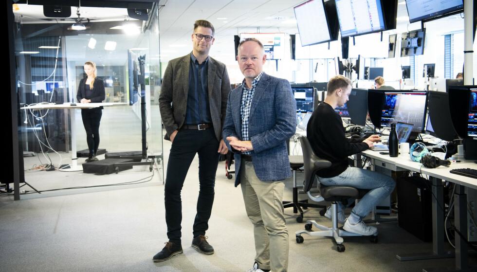 HØYE TALL: Mads. A. Andersen, TV-direktør i Aller Media og Bjørn Carlsen, redaksjonssjef i Dagbladet TV. Foto: Lars Eivind Bones.