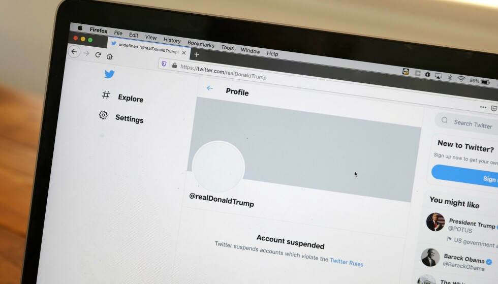 BORTE: Dette kommer opp når man søker på Twitter-kontoen til Trump. Foto: Justin Sullivan / AFP / NTB