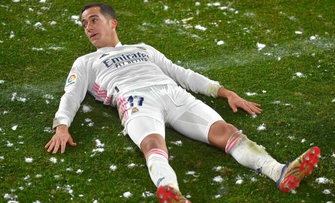 KALDT: Lucas Vazquez får føling med snøen. Foto: NTB
