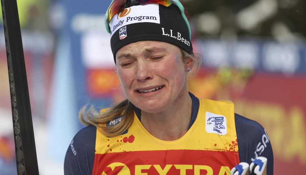 I TÅRER: Jessica Diggins. Foto: Alessandro Trovati/AP/NTB