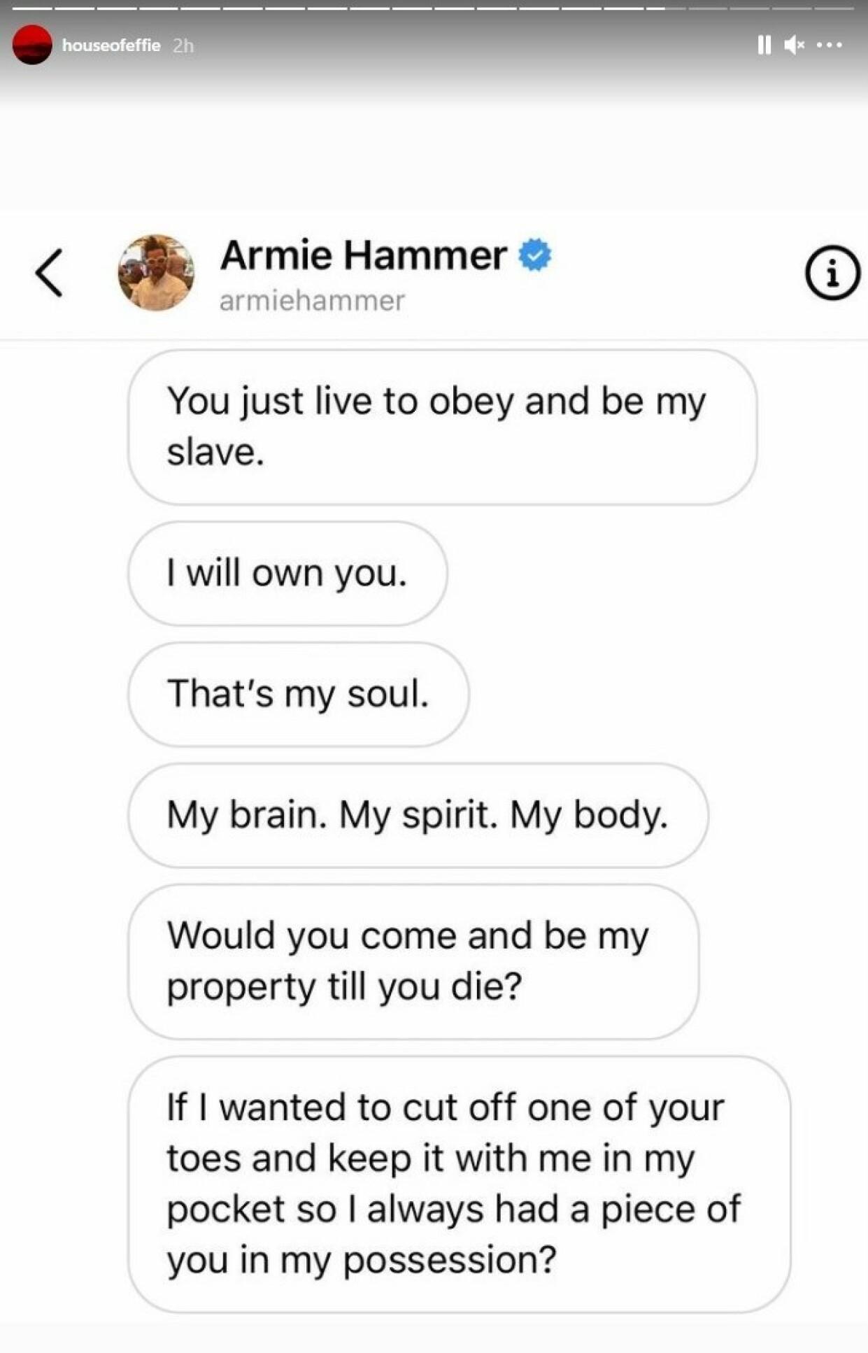 HEMMELIGE MELDINGER: De siste dagene er flere meldinger som angivelig skal være fra skuespilleren blitt lekket. Foto: Skjermdump fra Instagram