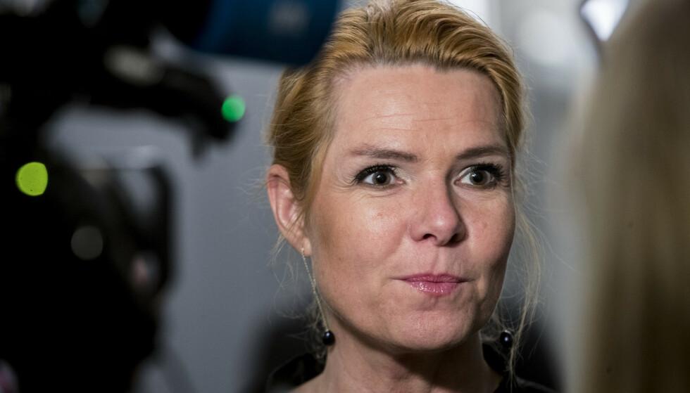 TIL ANSVAR: Inger Støjberg var danske Innvandringsminister fra 2015-2019. Denne uka ble det flertall for å stille henne for riksrett i Danmark. Foto: Vidar Ruud / NTB