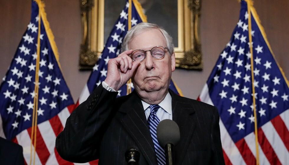 MEKTIGE MITCH: Mitch McConnell er leder for republikanerne i det amerikanske senatet. Foto: Tom Brenner /Getty /AFP / NTB