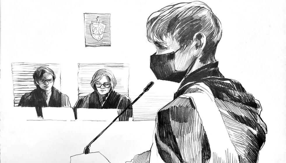 BEGRAVELSESAKTIG ANTREKK: Laila Bertheussen bar mørke klær og munnbind i retten. Det eneste som brøt mot det svarte, var dagens veske. Tegning: Esther Maria Bjørneboe