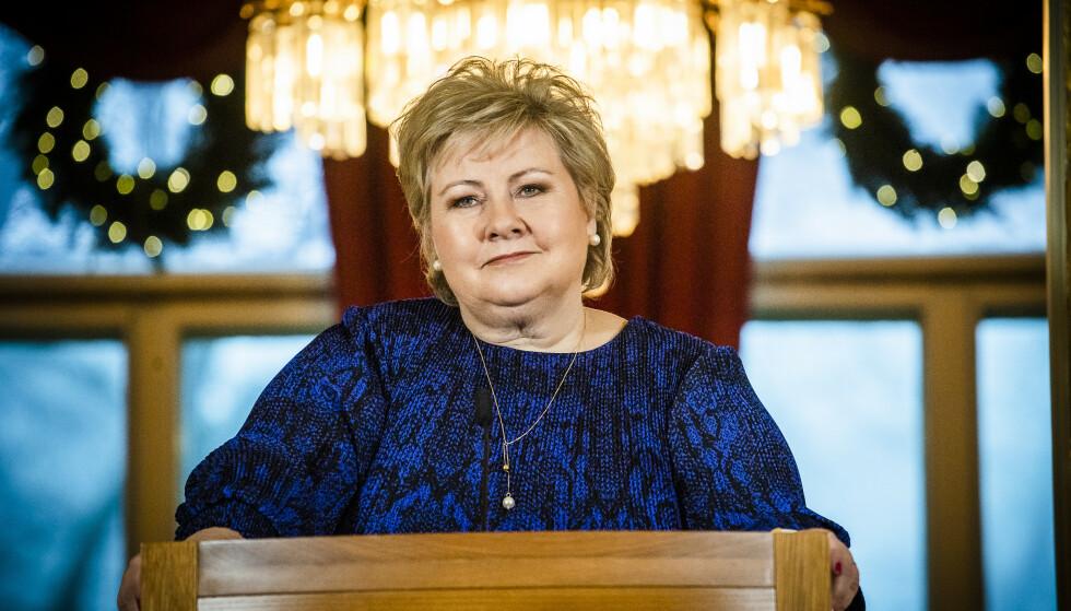 INGEN KOMMENTAR: Statsminister Erna Solberg vil ikke kommentere dommen mot Laila Bertheussen. Foto: Lars Eivind Bones / Dagbladet