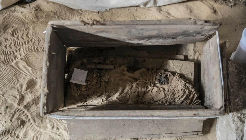 VELDIG GAMLE: Noen av sarkofagene som nå er funnet skal være rundt 3000 år gamle. Foto: Khaled Desouki / AFP / NTB